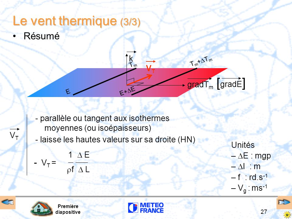 Le vent thermique (3/3) [gradE] Résumé k VT gradTm